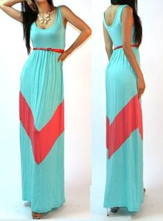 Mint Color Blocked Empire Waisted Jersey Knit Full Length Long Maxi Sun Dress M | eBay