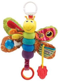 Lamaze Freddie the Firefly - plush toy with clinking rings and teether, including a peek-a-boo mirror and squeaker.
