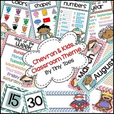 Chevron Kids Editable Classroom Theme Set for Back to School $