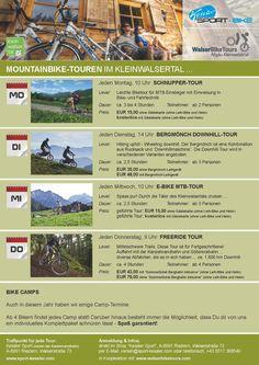 Geführte Mountainbike Touren im Kleinwalsertal im Zusammenarbeit mit Sport Kessler in Riezlern Baseball Cards, Sports, Tours, Hs Sports, Sport