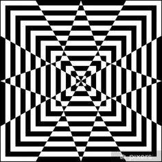 Motif géométrique noir et blanc Wall Mural Pixers We live to change Optical Illusions Drawings, Optical Illusion Quilts, Illusion Drawings, Art Drawings, Flower Drawings, Illusions Mind, Geometric Drawing, Geometric Art, Pixel Art