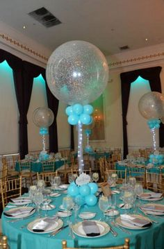 Beautiful turquoise balloon Bat Mitzvah centerpieces. | MitzvahMarket.com