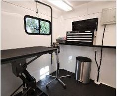Inside of a Dog Grooming Trailer
