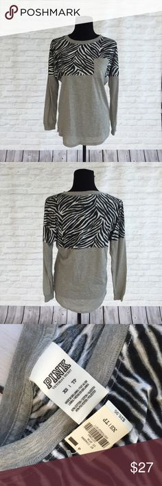 Victoria's Secret PINK Zebra Longsleeve New with tag t-shirt long sleeve with the logo on bottom right corner. PINK Victoria's Secret Tops Tees - Long Sleeve
