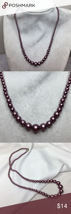 "🆕Vintage Mauve Pearls A beautiful strand of graduated deep mauve glass pearls, 15"" long. I can add an extension chain if you'd like. They are in excellent vintage condition; very well preserved. I am amazed by the teeny tiny pearls at the clasp! So delicate! Vintage Jewelry Necklaces"