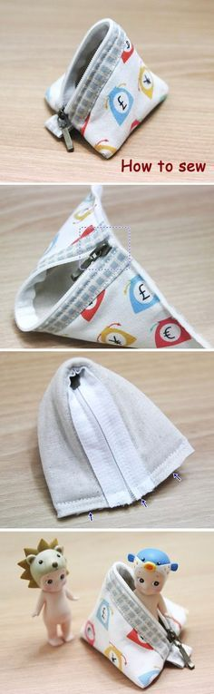 Mini Pyramid Pouch. DIY step-by-step Tutorial in Pictures.  http://www.handmadiya.com/2015/10/triangle-coin-purse-how-to-sew.html