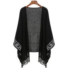 Black Aztec Print Fringe Kimono (240.120 IDR) ❤ liked on Polyvore featuring cardigans, black, kimono, outerwear and tops