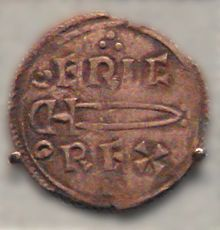 """Espada vikiga representada en una moneda de Eric """"hacha sangrienta"""", rey noruego de York 952- 954 d.C."""