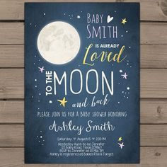 Moon Baby Shower invitation Love you to the by Anietillustration