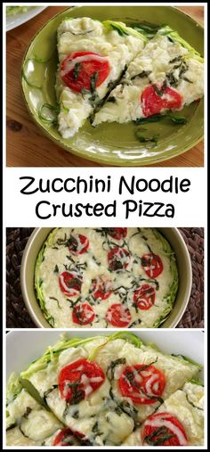 Another great way to use your spiralizer - Zucchini Noodle Crusted Pizza is low-carb, gluten free and soooo easy to make! By (Bake Zucchini Noodles) Zoodle Recipes, Spiralizer Recipes, Vegetable Recipes, Low Carb Recipes, Vegetarian Recipes, Cooking Recipes, Healthy Recipes, Freezer Recipes, Freezer Cooking