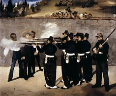 The Execution of the Emperor Maximilian of Mexico. Manet. 1867. Oil on canvas. 252 x 305 cm. Kunsthalle. Mannheim.