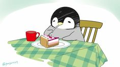 Penguin having a dessert Penguin Party, Penguin Love, Cute Penguins, Anime Animals, Animals And Pets, Cute Animals, Penguin Pictures, Cute Pictures, Cute Animal Drawings