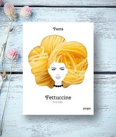 Creative packaging design turns pasta into hair.
