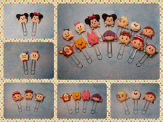 Tsum Tsum polymer clay paper clip bookmarks