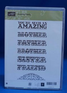 Stampin' Up! Amazing Family Mother Father Brother Sister Set of 7 Stamps NIB #StampinUp