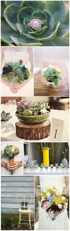 I love succulents. What a unique way to use them. Alas, I'm already married.