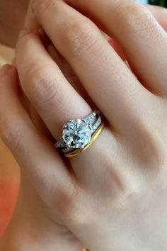 Shown with an antique Edwardian wedding band & Golden Hoop band By Erstwhile Celebrity Engagement Rings, Round Diamond Engagement Rings, Antique Engagement Rings, Diamond Rings, Stacked Wedding Rings, Vintage Diamond, Wedding Band, Bridal Jewelry, Hoop