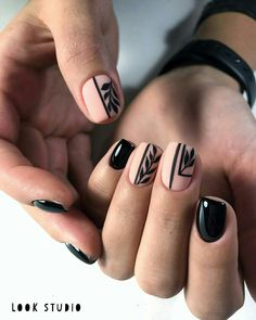 Black and pink nails - Nail Designs - Pink Nail Designs, Short Nail Designs, Black Nails, Pink Nails, Cute Nails, Pretty Nails, Hair And Nails, My Nails, Design Ongles Courts