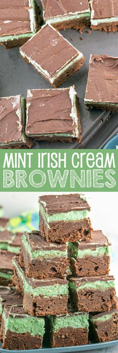 Mint Irish Cream Brownies: rich, fudgy chocolate brownies with a layer of mint Baileys Irish cream frosting and a chocolate coating.  Perfect for St. Patrick's Day - or year round! {Bunsen Burner Bakery} via @bnsnbrnrbakery