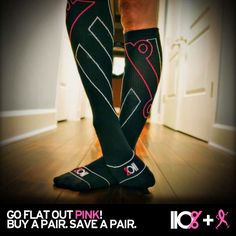 The NEW PINK 110% Flat Out Compress Sox. Cute, effective, and comfortable. #running #injuryprevention