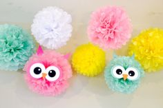Owl Tissue Poms for Owl Theme Birthday Party or Baby Shower by JaeMakes on Etsy. Visit www.etsy.com/shop/jaemakes