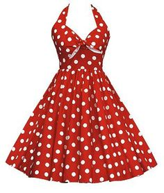 50s White Red Polka Dots Halterneck Dress 84109