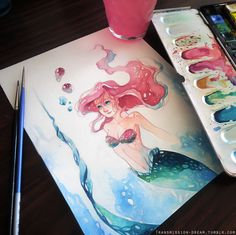 Ariel in #14 using watercolors! Added cerulean blue to the color palette because I'm weak. I wish I had a better camera :<