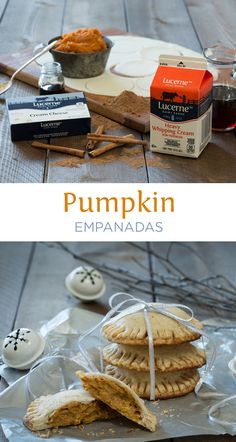 Pumpkin Empanadas - Pumpkin + cream cheese + pre-made pie crust = easy delicious dessert that can be eaten with fingers! Great for kids or to take to a party! People will go crazy over these.