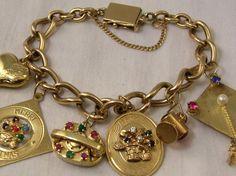 SAPPHIRES, RUBIES & EMERALDS 14K GOLD 6 CHARM BRACELET 1950's