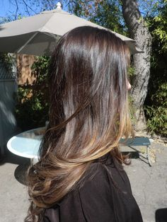 chocolate brunette with caramel & ash blonde subtle ombre