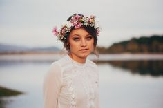 #blue #eyes #lake #flowers #crown #photography #girl #hairstyle #hair #my #style