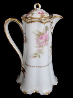 Haviland Limoges France Chocolate Pot Roses  Gold - Mint