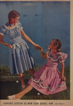 Spring & Summer 1946 Aldens Catalog Vintage Street Fashion, Vintage Fashion 1950s, Retro Fashion, Girl Fashion, Fashion Outfits, Steampunk Fashion, Gothic Fashion, Vintage Girls Dresses, Vintage Skirt
