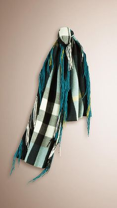 Teal The Fringe Scarf in Check Cashmere - Image 1