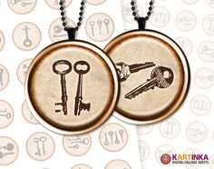 VINTAGE KEYS 1 inch Circles for Pendants magnets  by KARTINKAshop, $3.50