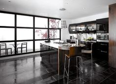 Shiny Black Colored For Luxury Kitchen Cabinets Luminous Black Colored Of Luxury Kitchen Cabinets