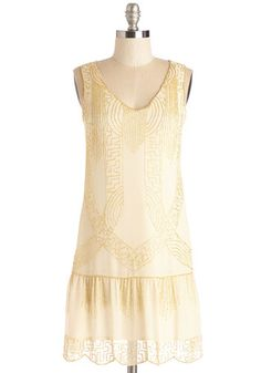 Deco My Golly Dress - Short, Woven, Mixed Media, Gold, Beads, Special Occasion, Prom, Wedding, Party, Holiday Party, Bride, Vintage Inspired, 20s, Drop Waist, Sleeveless, V Neck, Cream