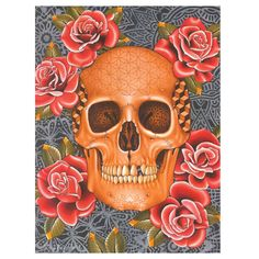 Skull of Life by Craig Beasley Steadfast Brand Art Print Red Roses #TraditionalStyleArtwork