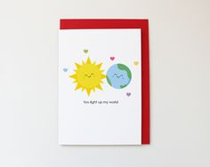 You light up my world, Valentine's Day/Anniversary/just because! card, A6 matte…