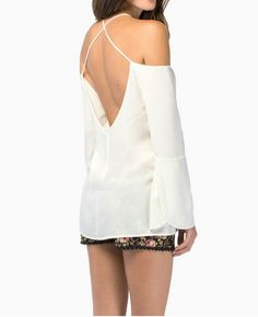 5f1a3e68b339b3 Womens Sexy Backless Cross Straps Loose Off Shoulder Chiffon Shirt Blouse  Top (XL