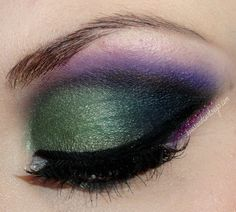 Greena and purple eye make-up look by Bows and Curtseys