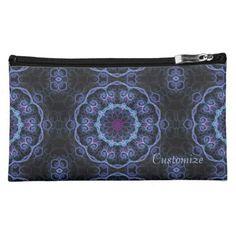Blue & Pink Floral Fractal Pattern Cosmetics Bag