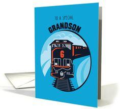 Grandson 6th Birthday Train on Blue card (1348472)