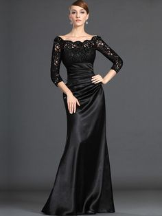 Black Long Satin & Lace Evening Dress