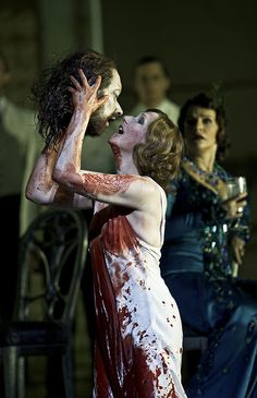 Don't know if opera gets more macabre than this...wow!  Angela Denoke in Salome. Photo: Clive Barda.    #opera #Salome #RoyalOperaHouse
