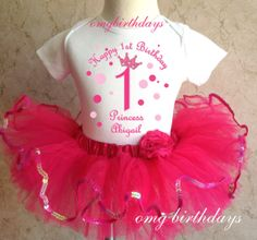 Princess Pink Polka dots Princess Crown Birthday Personalized Name Age Shirt & Tutu Set outfit girl 1st first 6 12 18 months Baby Toddler, $22.99