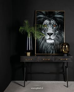 The eye of the tiger? How about the eye of the lion! With his piercing look, this lion will grab you attention as soon as you enter the room. #interior #interiordesign #ptmd #ptmdcollection #homedecoration #living #interiordecor #interiorlovers #interiorstyle #lifestyle Fire Eyes, Student Home, Black Interior Design, Home Living Room, Glass Art, Interior Decorating, New Homes, Wall Art, Room Interior