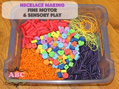 Fine Motor & Sensory Play Necklace Making