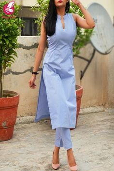 Online shopping for Kurti Sets in India Simple Kurta Designs, Kurta Designs Women, Salwar Designs, New Kurti Designs, Kurti Sleeves Design, Sleeves Designs For Dresses, Kurta Neck Design, Dress Indian Style, Sari Blouse Designs