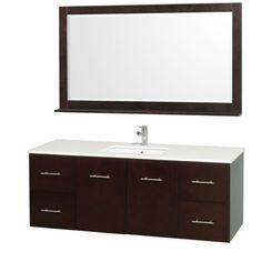 "Wyndham Collection Centra 60"" Single Bathroom Vanity for Undermount Sinks - Espresso WC-WHE009-60-SGL-VAN-ESP-"